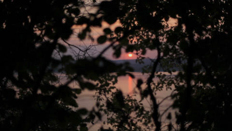 View of a beautiful sunset over the river soft focus, boke Footage