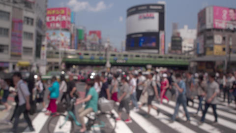 People who cross the pedestrian crossing at Shinjuku on holidays - Soft Focus Live Action