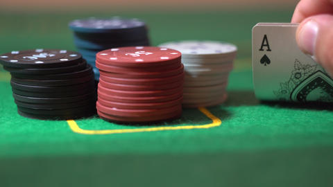 Two Aces Close Up, Poker Cards In Player Hand, Stack Of Chips On Casino Table Footage