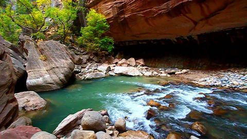 Zion Canyon Narrows Utah Footage