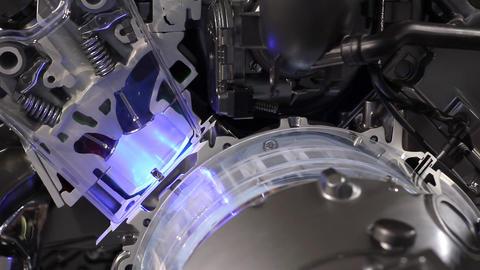 Car hybrid engine pistons and valves work Footage