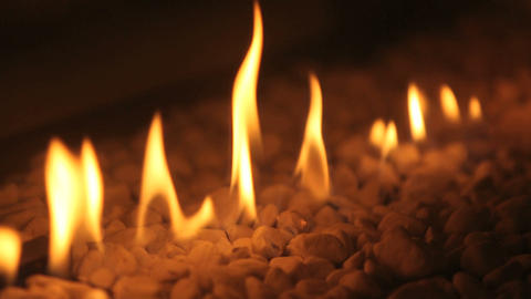 Closeup of fire flames in a chimney Footage