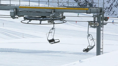 Empty Ski Lift stock footage