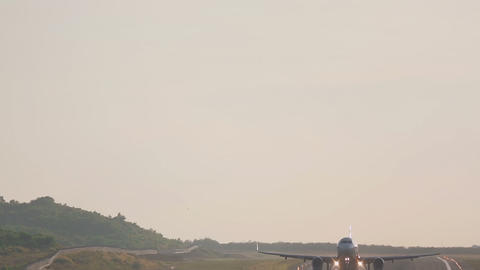 Airbus 320 taking off from Phuket airport Footage