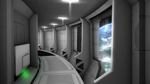 Spaceship corridor scene Animation
