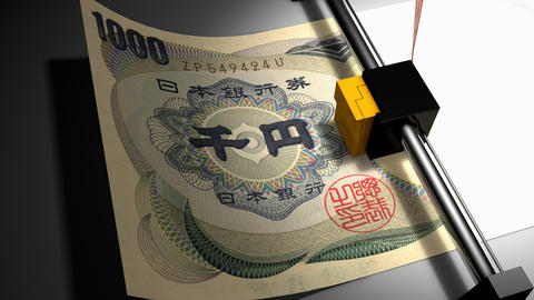 Concept animation, Japanese Yen money printer Animation
