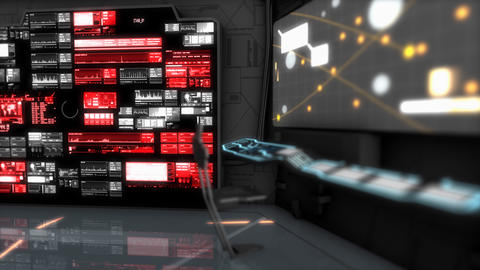 Starship command room, science fiction spaceship control room Animation