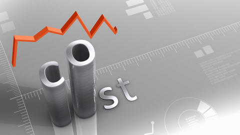 Cost decreasing chart, statistic and data Animation