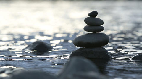 Stones In Water stock footage