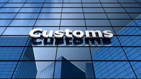 Customs building, blue sky clouds time-lapse Animation