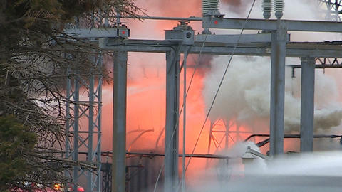 Electrical grid explosion and fire at transformer station Live Action