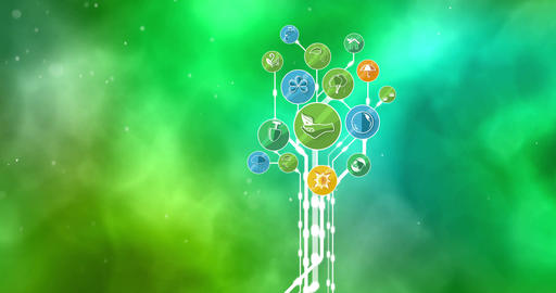 Ecological Icons Tree. Bio Energy. 4K Animation