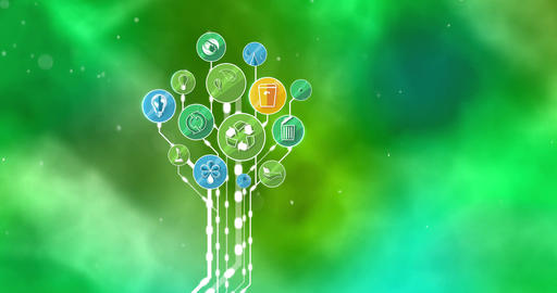 Ecological Icons Tree. Think Green. 4K Animation