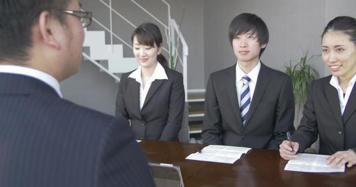 Japanese business man Interviews job Candidates Footage