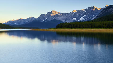 Sunset timelapse of Lower Kananaskis Lake and mountains in the Canadian Rockies, Footage