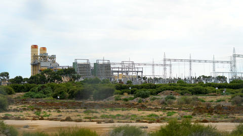 Electricity power station in remote industrial area and... Stock Video Footage
