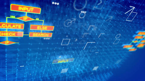 Technological algorithms backdrop with charts Stock Video Footage