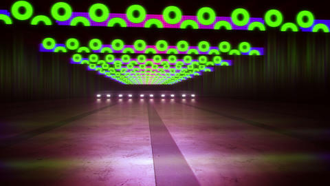 Abstract Colorful Stripes and Circles in Tunnel CG動画素材