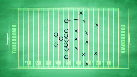American football field plan for attack Animation