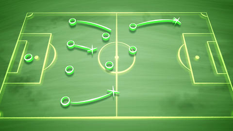 Soccer field tactics with crosses and passes Animation