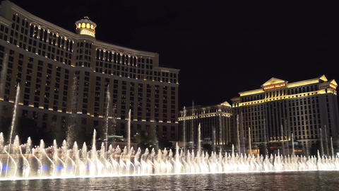 Musical Show Fountains in Las Vegas. Bellagio Footage