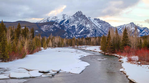 Time-lapse of the Kananaskis River at sunset, Alberta, Canada Footage