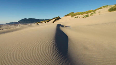 A sand dune on a beach on the Oregon coast with the sand being blown around by Live Action