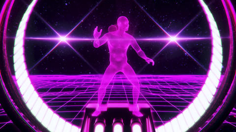 3D Fuchsia Wireframe Man in Cyberspace VJ Loop Motion Background Animation