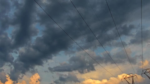 Cloudy sky at dusk colorful background Cloudscape during sunset time. 4K HD Footage
