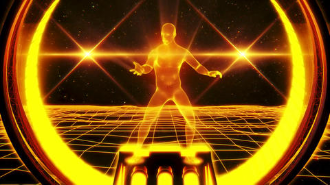 3D Gold Orange Wireframe Man in Cyberspace VJ Loop Motion Background Animation
