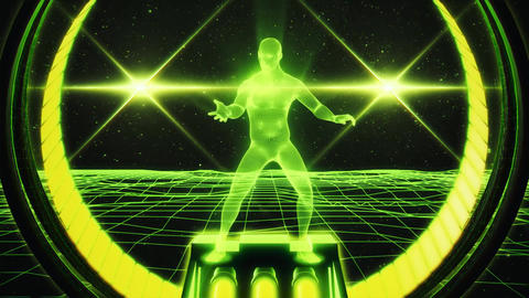 3D Light Green Wireframe Man in Cyberspace VJ Loop Motion Background Animation