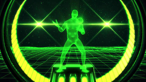 3D Green Wireframe Man in Cyberspace VJ Loop Motion Background Animation