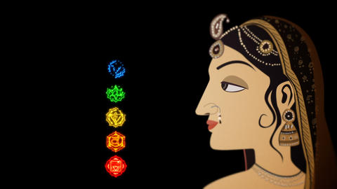 Indian Hindu Woman and the Seven Chakras Live Action