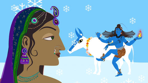 Lord Shiva Nandi and Parvati on Kailash Mountain Live Action