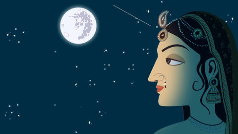 Traditional Indian Hindu Woman on a Full Moon Night GIF