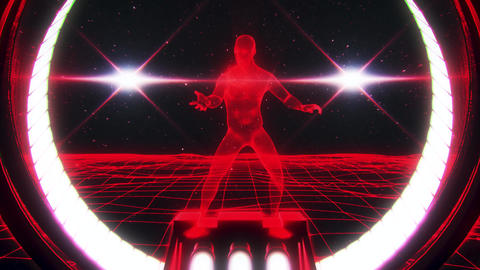 3D Red Wireframe Man in Cyberspace VJ Loop Motion Background Animation