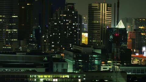 Cityscape View of Night Time Bangkok Metropolitan Timelapse GIF