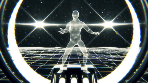 3D White Wireframe Man in Cyberspace VJ Loop Motion Background Animation