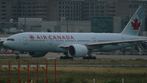 Boeing 777 of Air Canada airlines taxiing in Frankfurt am Main airport Footage