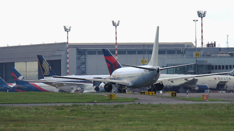 Boeing 737 of Fly Egypt taxiing in Dusseldorf airport Footage