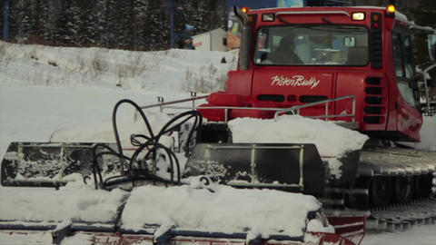 Show grooming machine Ski Resort .Preparation of the mountain slope for skiing Footage
