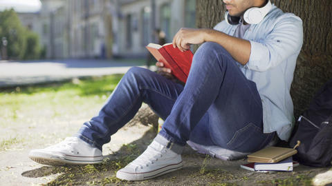 College student sitting under tree, taking book to read, literary studies, class Footage