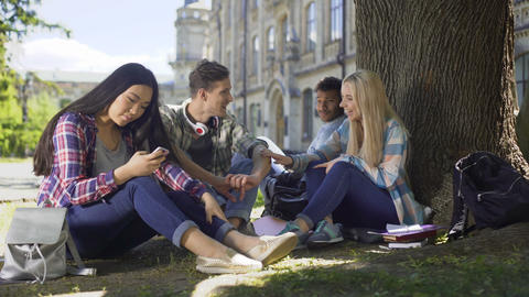 Classmates sitting under tree, girl touching guys arm, friendship and flirt Footage