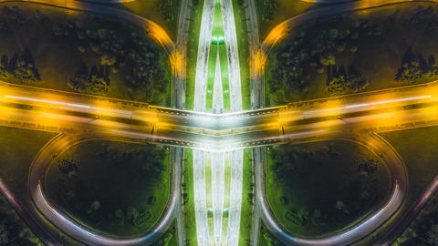Night Aerial View cars on freeway Sofia ,Bulgaria - mirror effect 4k timelapse ビデオ
