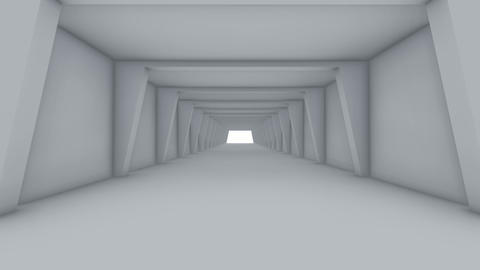 Fly through to futuristic white color spacious interior Animation