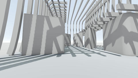 Fly through to abstract futuristic white gallery Animation