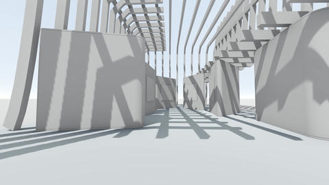[alt video] Fly through to abstract futuristic white gallery