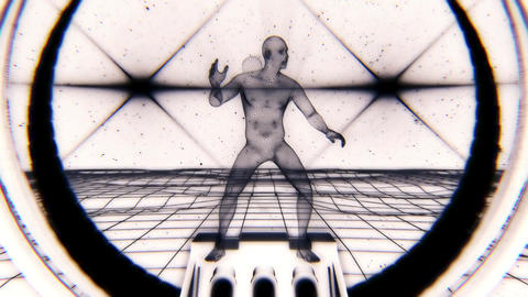 3D BW Wireframe Man in Cyberspace VJ Loop Motion Background Animation