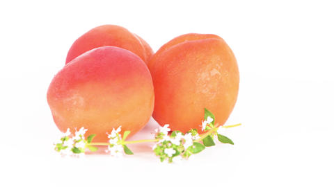 Three peaches close-up Footage