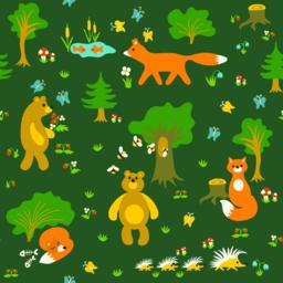 Animals in forest seamless pattern Vector